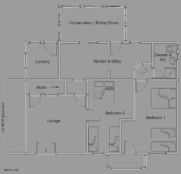 Diagram of ground floor room layout for Le Marronnier - delightful-farmhouse-style-gite