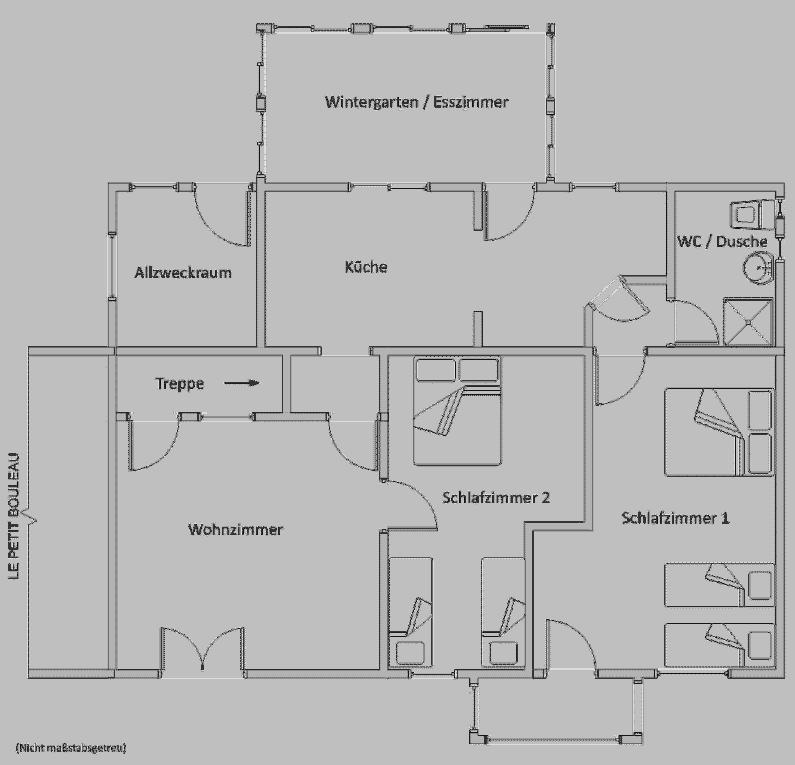 Grundriss des Erdgeschosses mit Raumaufteilung von Le Marronnier. - grosses-bauernhaus-stil-gite