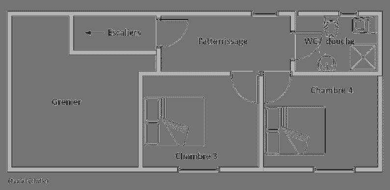Plan du premier étage du Marronnier montrant la disposition des pièces. grand-gite-de-style-ferme