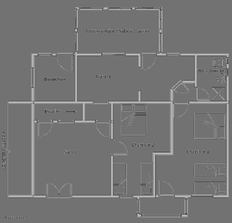 Plan du rez-de-chaussée montrant la disposition des pièces du Marronnier. - grand-gite-de-style-ferme