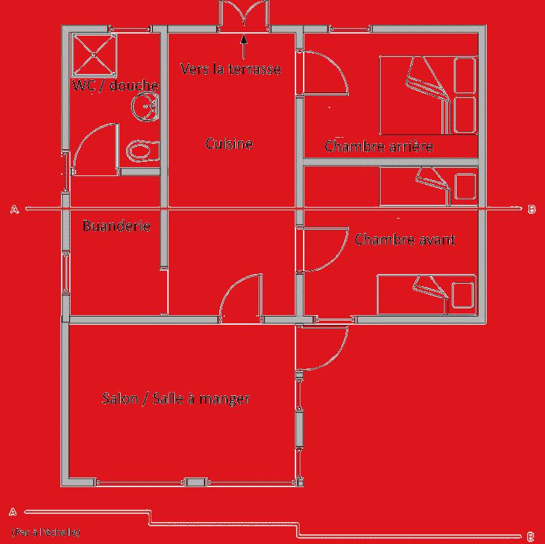 Plan d'étage montrant la disposition de la pièce. gîte de style chalet