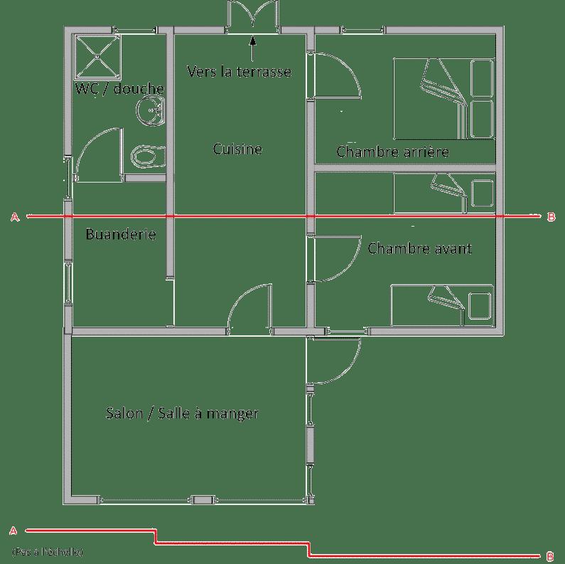 Floor plan showing room layout. gîte de style chalet